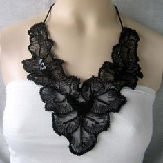 Black Flowercrochet beaded necklace/choker by NingNingGong