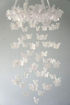 Butterfly mobile Girl Nursery, Nursery Decor, Nursery Ideas, Room Ideas, Mobile Photography, Photography Props, Adoption Baby Shower, Butterfly Mobile, White Butterfly