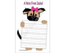 German Shepherd Girl Note Pad. Personalized by CCGirlsCorner