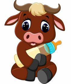 Illustration of illustration of cute baby bull cartoon vector art, clipart and stock vectors. Cartoon Cartoon, Cartoon Kunst, Cartoon Drawings, Clipart Baby, Buffalo Cartoon, Baby Animals, Cute Animals, Baby Buffalo, Baby Clip Art
