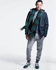 J.Crew men's cotton-nylon x250 hooded jacket, cable sweater, slim classic sweatpant, New Balance® for J.Crew 998 royalty sneakers and cashmere scarf in plaid.