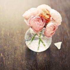 i love those flowers ! >> Coral ranunculus photograph -  romantic fine art print - peach orange wall decor spring tangerine flowers in a vase wooden summer. $28,00, via Etsy.