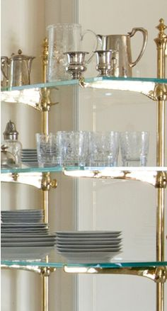 Brass & Glass shelves for kitchen dishes
