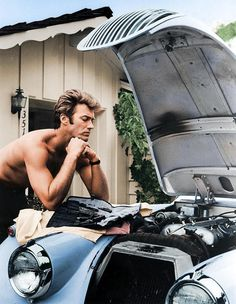 Clint Eastwood and his Jag XK 120 - 1960 - Inspiration for A Marriage of Inconvenience... https://eviesnow.net/a-marriage-of-inconvenience/