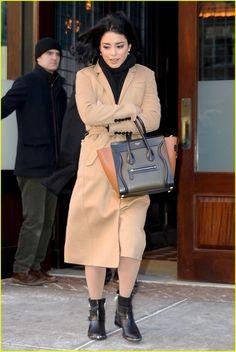Vanessa Hudgens Grabs Selfies With 'HSM' Cast Mates in New Reunion Promo | vanessa hudgens wears brown coat promoting grease live 06 - Photo