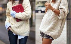Pull en maille / Chemise bleue claire / Pochette rouge - Short clouté / Pull en maille / Bijoux dorés et discrets