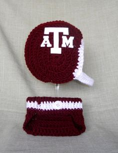 Texas A&M Inspired Crochet Baby Football Helmet Hat and Diaper Cover Set with Logo - 0-3 Months, 3-6 Month Sizes - Handmade