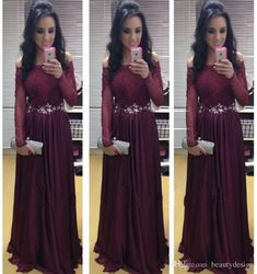 2015 Fashion Burgundy A Line Chiffon Evening Dresses Formal with Long Sleeves Sexy Bateau Lace Appliques Prom Gowns BO7291 with Sash Online with $137.7/Piece on Beautydesign's Store | DHgate.com