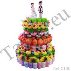 Tarta de chuches o gominolas especial para regalo, cumpleaños o celebraciones