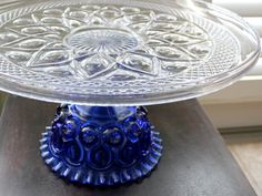 Cobalt Blue Cake Stand / 16 Glass Cake Stand by TheRocheStudio, $180.00