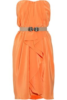 BCBGMAXAZRIA Belted silk-charmeuse dress