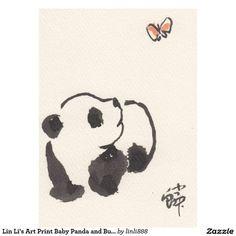 Lin Li's Art Print Baby Panda and Butterfly 130904 Cute Panda Drawing, Tatto Love, Panda Images, Chinese Posters, Art Trading Cards, Panda Art, Panda Love, Animal Tattoos, Watercolor Art