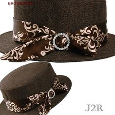7d5e14e09986d Details about Flat Crown Short Brim Wool Boater Custume Womens Autumn Hats  7 1 4 JRFF008 Brown