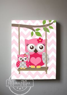 Owls Baby Nursery Canvas Print for any girls room. This print is my original design . All prints are sold signed. The image wraps around the sides of the wooden frame canvas, and is ready to hang. This design adds dimension, and interest from any viewing angle. Made with high quality