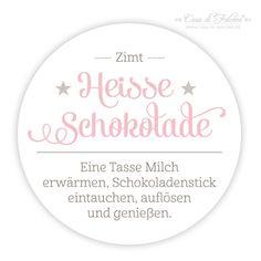 """Aufkleber """"Heisse Schokolade"""", z.B. für leckere selbstgemachte Trink-Schoki am Stiel. ♥ Geschenke aus der Küche I www.Casa-di-Falcone.de"""