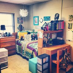 DORM Fun lamp/lantern over the bed; decorative pillows; use the desk & hutch as a headboard or a footboard; store binders and spirals in a milk crate.