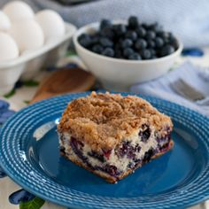 Blueberry Buckle - a moist cake filled with blueberries and a streusel topping.  This recipe has been passed down through the generations!