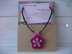 PRETTY NEEDLE FELTED NECKLACE FOR MOTHERS DAY Needle Felted Beaded Flower Pendant Necklace £6.00 plus p&p