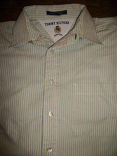 Tommy Hilfiger Men's M 15 1/2 32-33 Long Sleeve Button Cotton Shirt Pocket