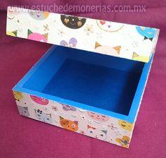 caja de decoupage, con servilleta y poliester
