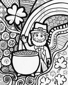 INSTANT DOWNLOAD Coloring Page - St. Patrick's Day Leprechaun Print zentangle inspired, doodle art, printable