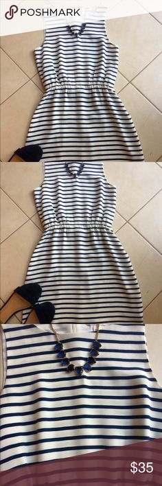 """JCrew dress JCrew dress. Classic Silk blue & white dress with 100% polyester lining & bra strap holder to keep bra in place. Size 00 and come just above the knee on me at            5'2"""" J. Crew Dresses"""