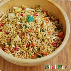 """Bhel Puri with pomeganate. Make this as a vegetarian side """"salad"""""""
