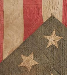 Love flag quilts  Beautiful detail of War era quilt from Civil War Quilts.