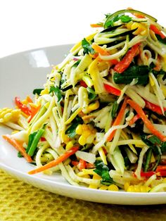 Summer Veggie Slaw. Just pretty veggies tossed with olive oil and lemon juice.