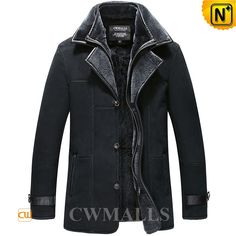Shearling Sheepskin Coat for Men Black CW855567 Rugged sheepskin coat textured Spanish shearling sheepskin construction, double collar shearling coat featuring with tab on cuff, zip slashed pocket, front YKK zipper closure offer great added wind protection. www.cwmalls.com PayPal Available (Price: $1887.89) Email:sales@cwmalls.com