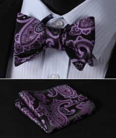 Purple Black 100%Silk Men Butterfly Self Tie Bow Tie Pocket Square Set