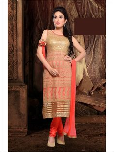 Orange Party Wear Art Silk Suit