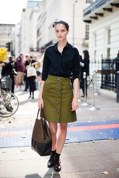 I love this oversized-button olive skirt.