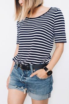The everyday essentials of a tomgirl: denim + striped tee + Q Founder smartwatch. Fashion Displays, Elements Of Style, Wearable Technology, Striped Tee, Types Of Fashion Styles, Dress Me Up, Spring Summer Fashion, Casual Wear, Summer Outfits