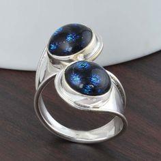 DESIGNER 925 STERLING SILVER DICHORIC GLASS RING 4.29g DJR5261 #Handmade #Ring