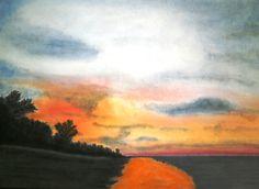 Am Strand, Pastell auf Papier, BxH 41x30cm