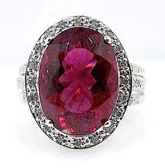 Catawiki Online-Auktionshaus: Ring mit rotem Turmalin von 6,5 ct und Diamanten – Ohne Mindestpreis!