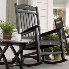 Trex Outdoor Furniture Yacht Club Charcoal Black Plastic Stationary Rocking Chair(s) with Slat Seat at Lowe's. You don't have to be on a yacht to enjoy the gentle rocking of the waves. The Trex® outdoor furniture™ Yacht Club Rocking Chair will Wooden Rocking Chairs, Patio Rocking Chairs, Outdoor Chairs, Farmhouse Outdoor Rocking Chairs, Adirondack Chairs, Rocking Chair Front Porch, Adirondack Furniture, Outdoor Rooms, Front Porch Furniture