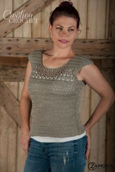 This may be my favorite crochet top.  I love how simple it is but it is easy to dress it up or down.  Pair it with a tank, tee or long sleeve shirt for any weather wear.  This womens fashion style looks great with jeans and boots for the fall.