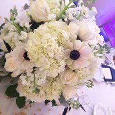 Low Centerpiece:  Anemones, Hydrangea, Stock and Roses