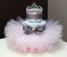 3 Tier Princess Diaper Cake, 2 Styles, Tutu Diaper Cake, Tiara Diaper Cake, Diaper Cake for Girl, Girl Baby Shower, Princess Baby Shower