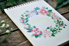 Notebook with flower wreath watercolor by TheTwentyFingers on Etsy
