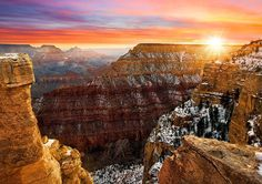 Our public lands give us some of the most spectacular views, like this winter sunrise at Grand Canyon National Park in Arizona. On Monday, visit national parks (including the Grand Canyon), wildlife. Grand Canyon Photography, Nature Photography, Better Photography, Scenic Photography, Photography Tips, Grand Canyon Winter, Nationalparks Usa, Belle Photo, Monument Valley