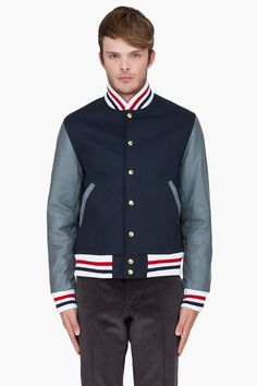 THOM BROWNE Leather Trim Machintosh Varsity Jacket