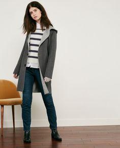 Manteau réversible en laine double-face Dark grey/light grey Darbin