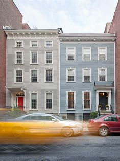 Two Federal-style, wood clapboard row houses in Brooklyn Heights Door Overhang, Brooklyn Heights, Wooden Houses, Paint Colors For Home, House Front, Exterior Colors, House Painting, Ideal Home, Townhouse