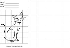 Grid Art Worksheets   Drawing-with-Grids Activity: Cartoon Sitting Cat by Fun Free Party ...