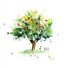 Apple Tree Watercolor Painting by TracieGraceRiesgo on Etsy