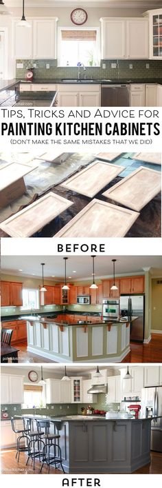 Tips and Tricks and what NOT to do when painting your kitchen cabinets Kitchen Redo, Kitchen Remodel, Refinished Kitchen Cabinets, Painting Kitchen Cupboards, Colorful Kitchen Cabinets, Kitchen Cabinets Painted Before And After, Painting Kitchen Chairs, Kitchen Craft Cabinets, How To Paint Kitchen Cabinets White