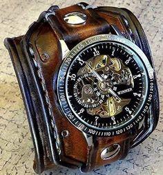 Steampunk Leather Cuff Watch, Skeleton Men's watch, Aged brown Leather Cuff, Bracelet Watch, Wrist Watch price in pakistan Patek Philippe, Stylish Watches, Cool Watches, Watches For Men, Luxury Watches, Casual Watches, Elegant Watches, Women's Watches, Beautiful Watches